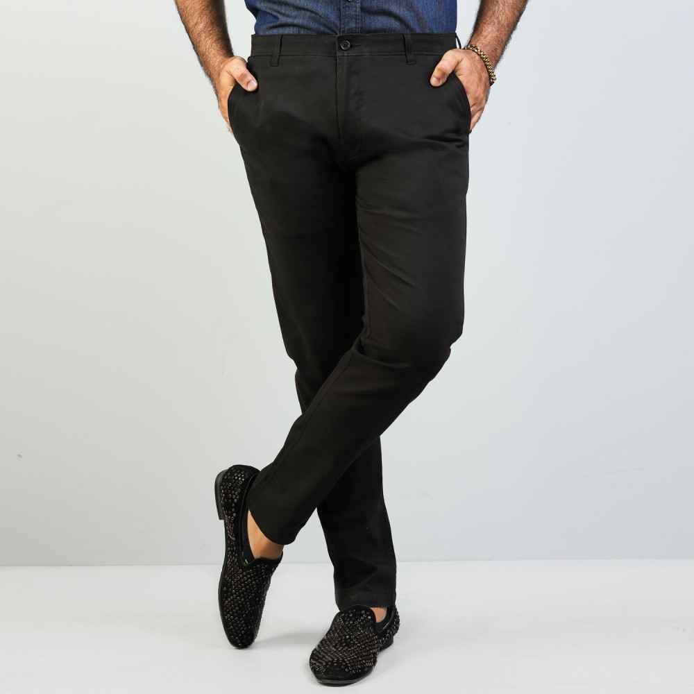 Black Chino Stretch Trouser