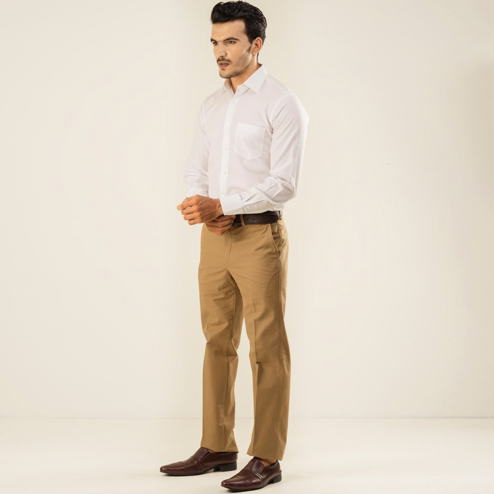 Plain Twill-Camel, Tailor Fit, Wrinkle Free Trouser