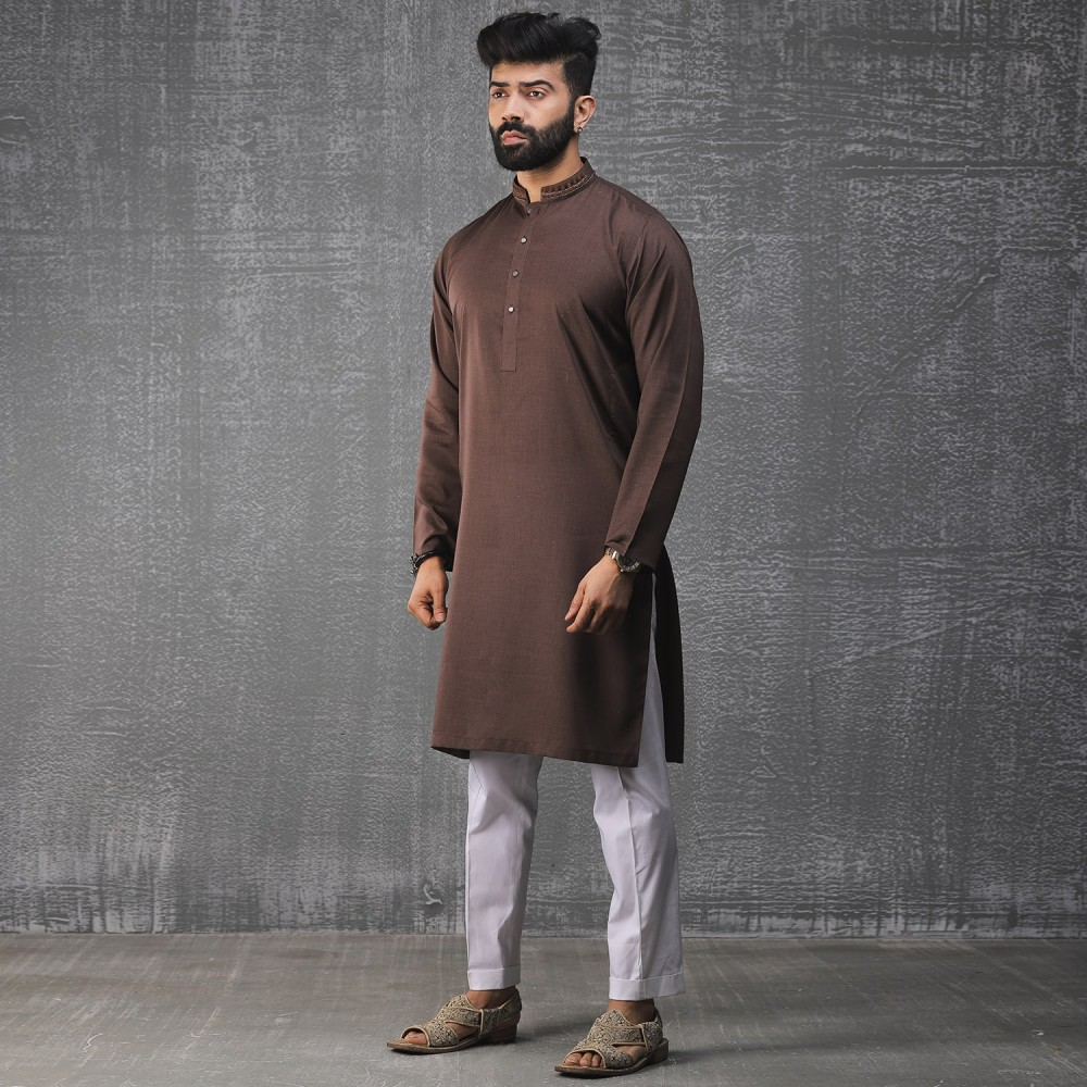 Plain-Chocolate, Yarn Dyed Chambray Cotton Embroidered Kurta