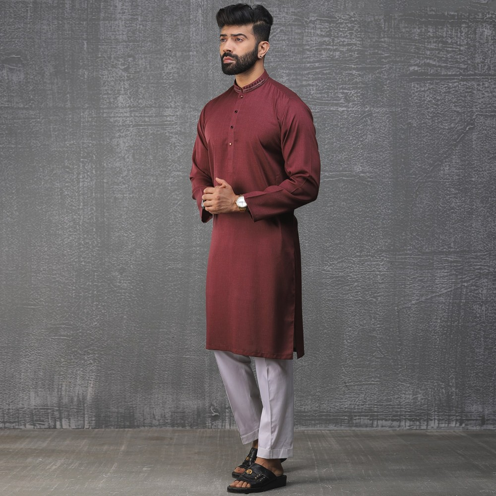 Plain-Redwine, Yarn Dyed Chambray Cotton Embroidered Kurta