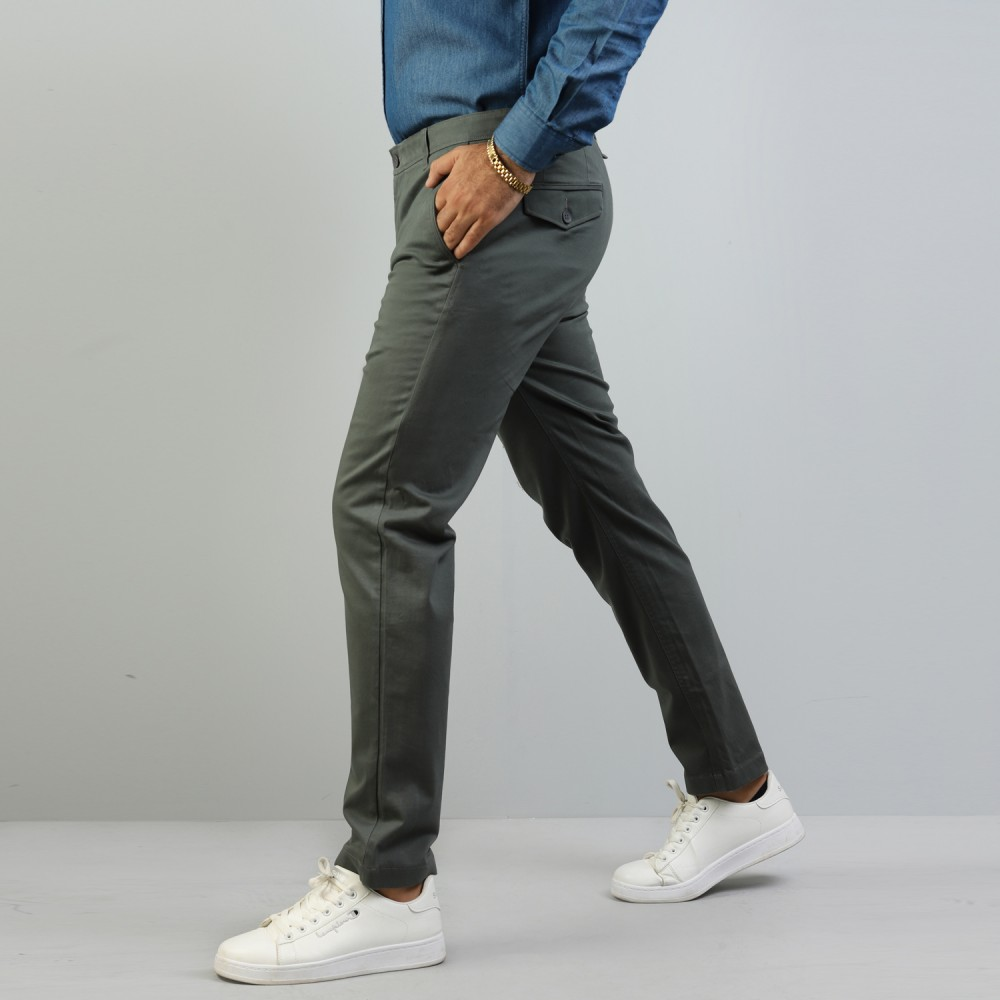 Grey Chino Stretch Trouser