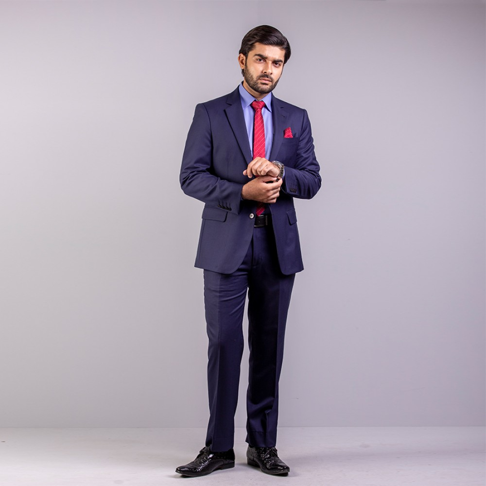Plain Florence Navy Blue Suit Regular
