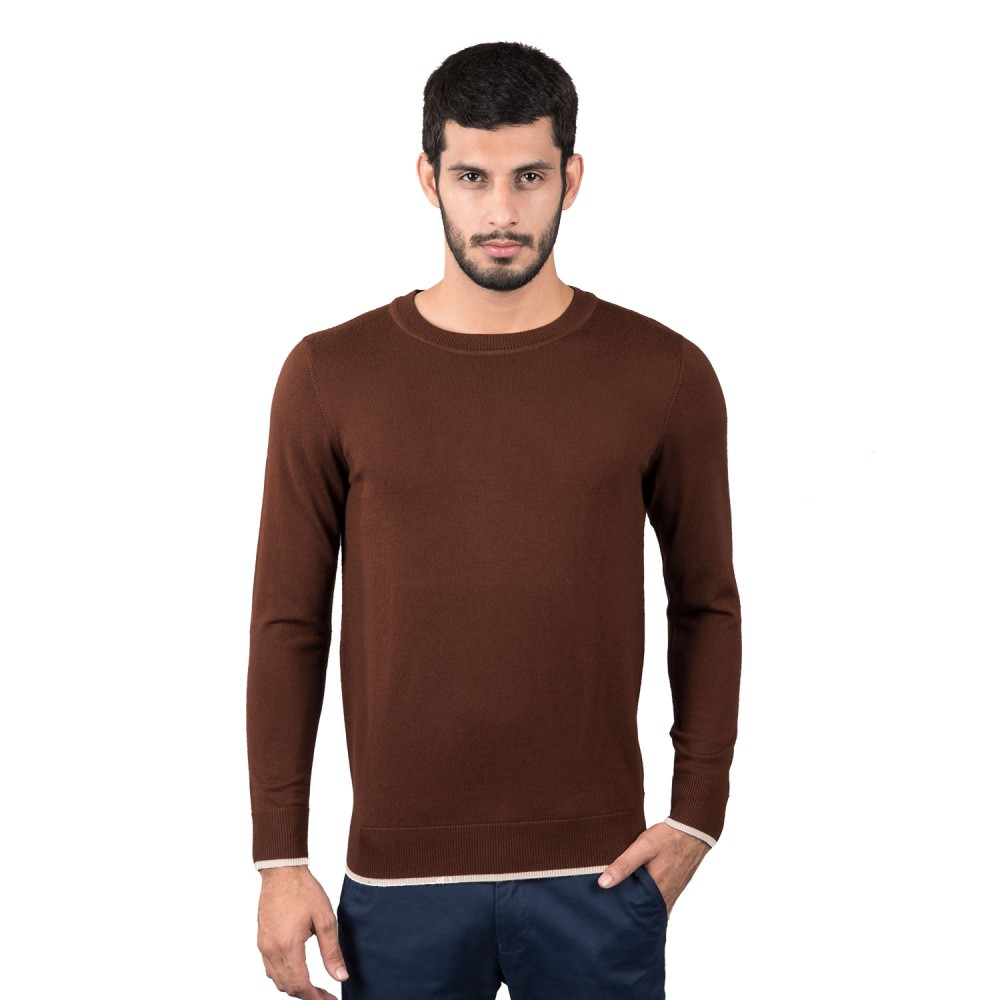 Sweater - Merino Wool Chocolate Brown/Beige Contrast - Regular