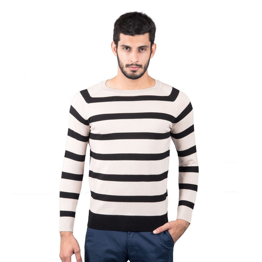 Sweater - Merino Wool Beige/Black Stripes - Regular