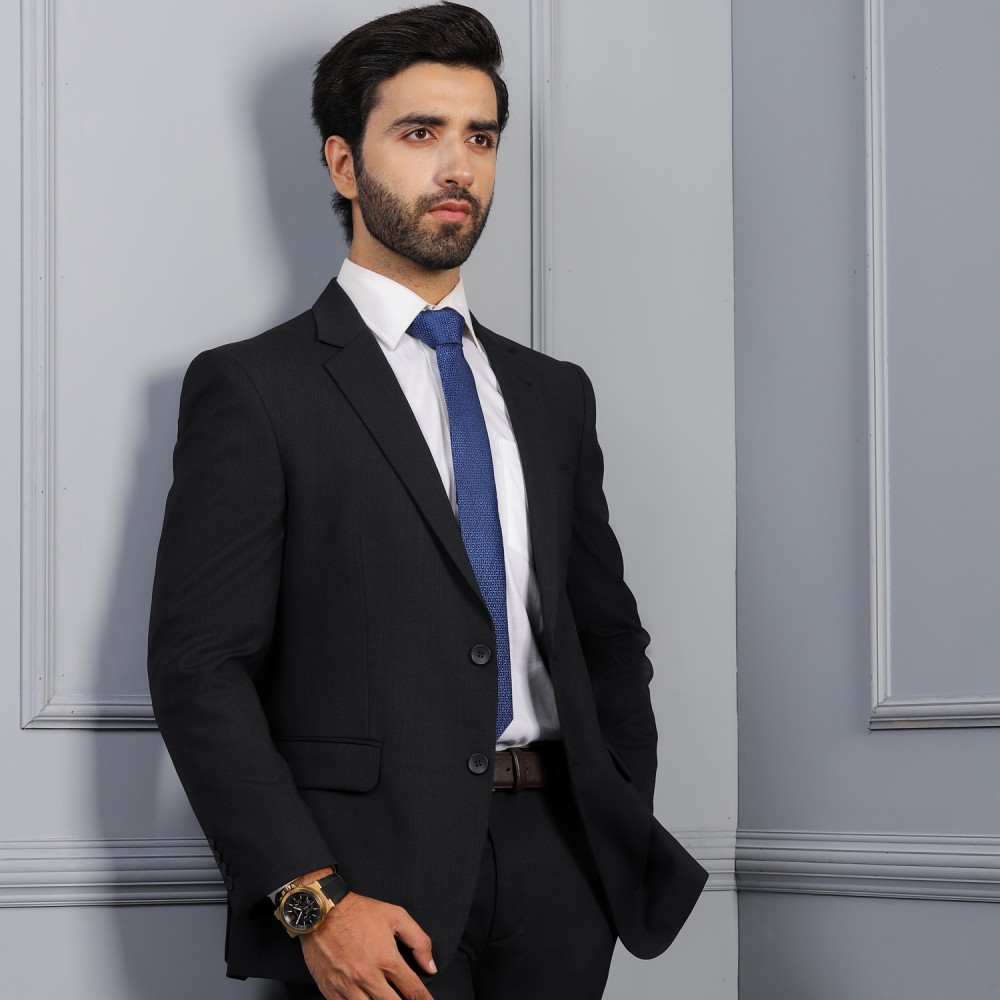 Textured-Black, Wool Blend Stretch Regular Fit Classic Suit