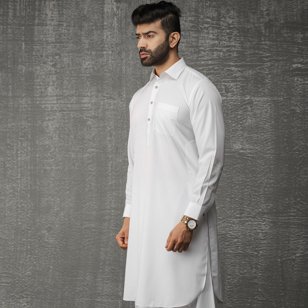 Plain-White, Wash N Wear Shalwar Kameez