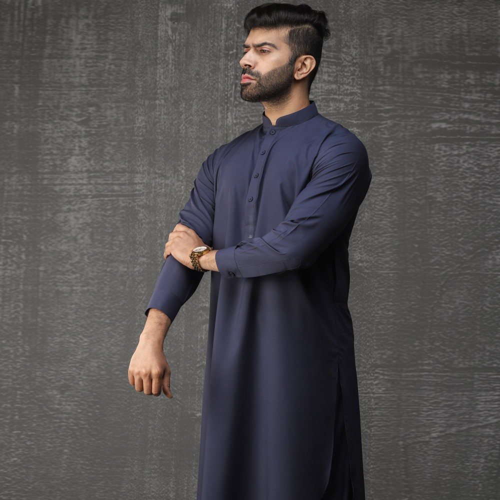 Plain-Bluish Grey, Wash N Wear Shalwar Kameez