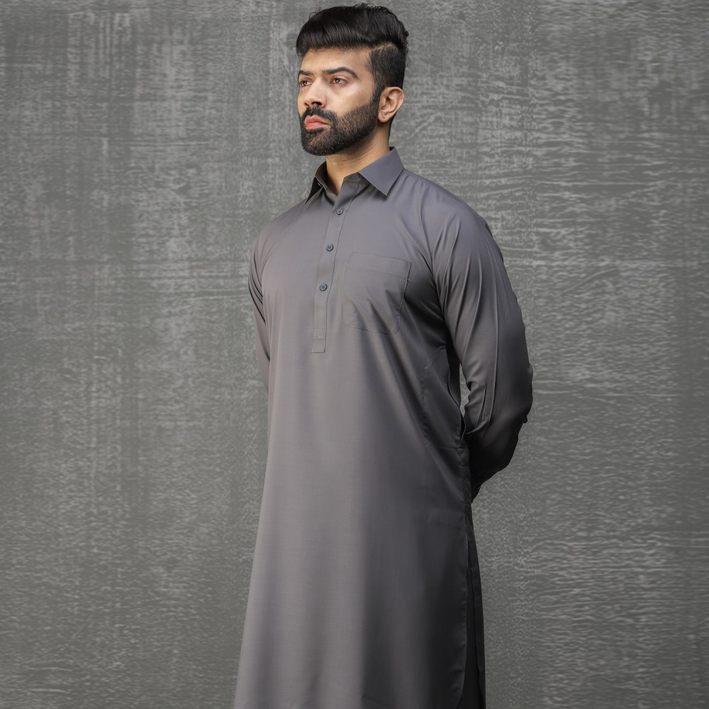 Plain-Slate Grey, Wash N Wear Shalwar Kameez