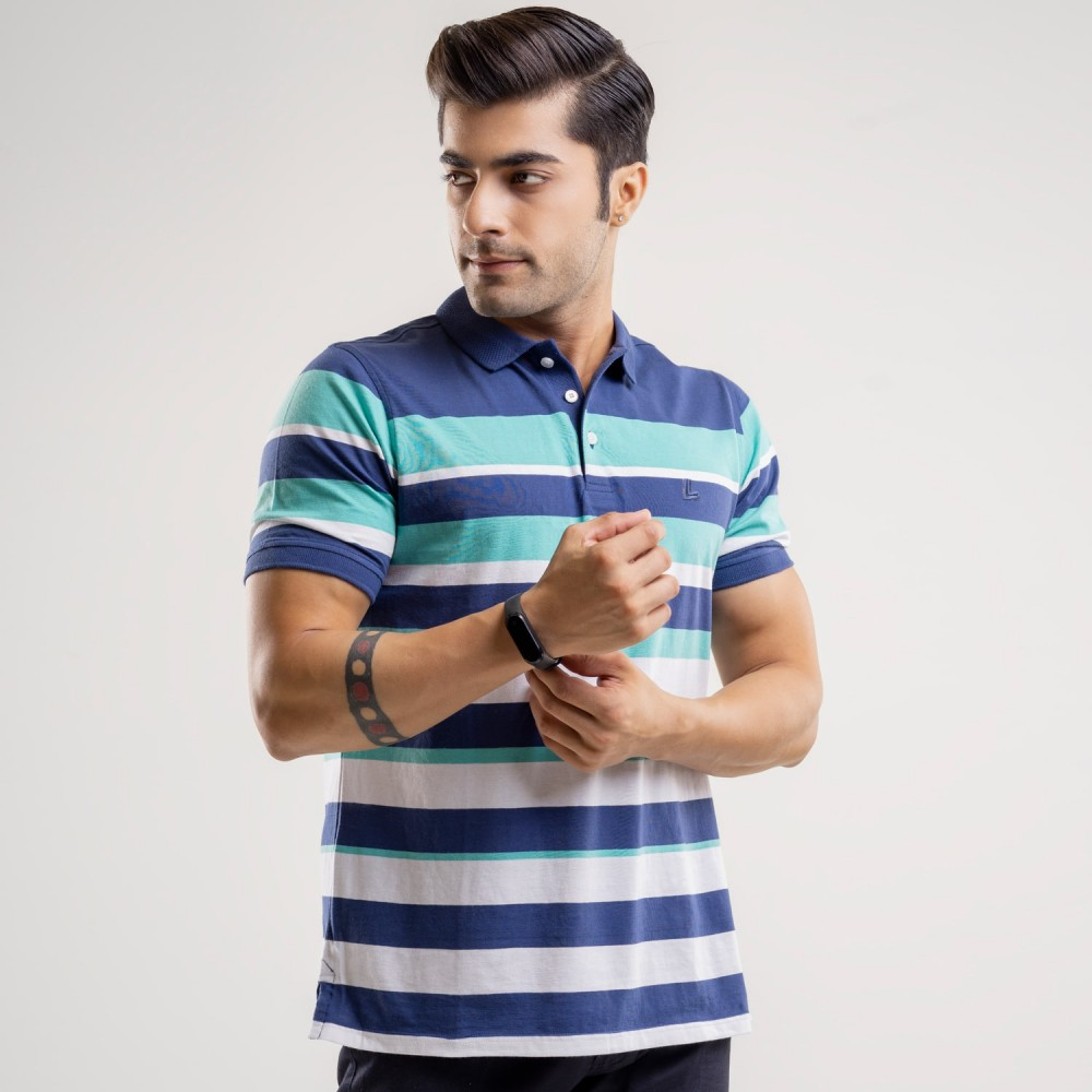Striped-Navy/Turquoise on Navy Base, Regular Fit Yarn Dyed Polo Shirt