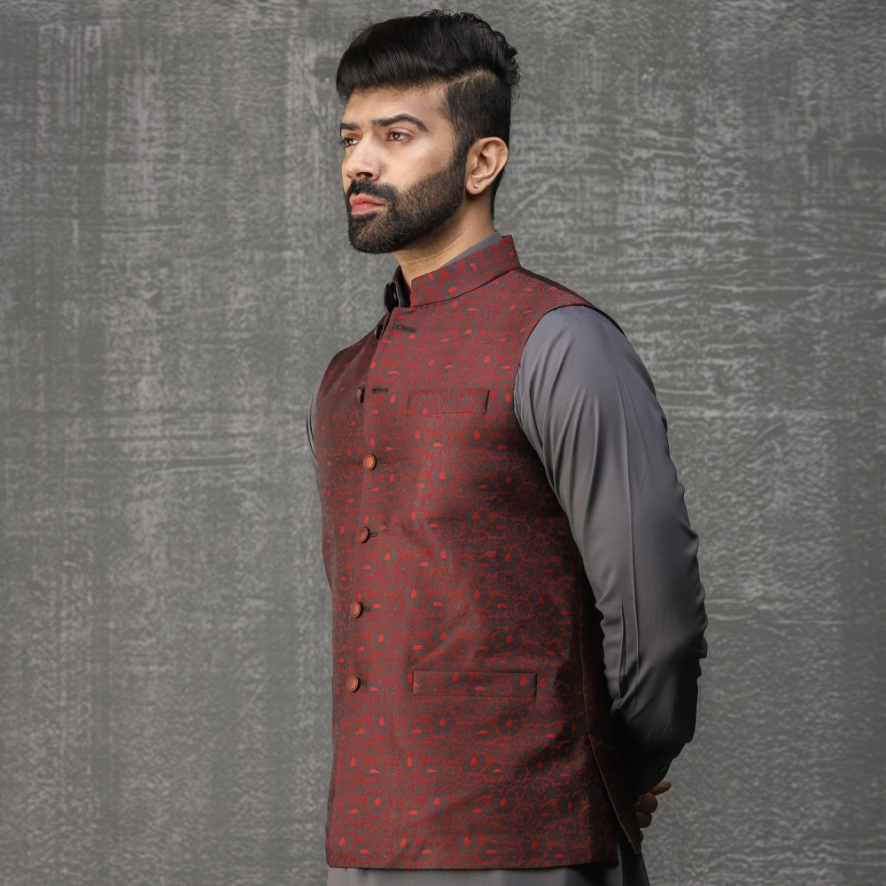 Contrast Textured Floral-Burgundy Red, Jamawar Waist Coat