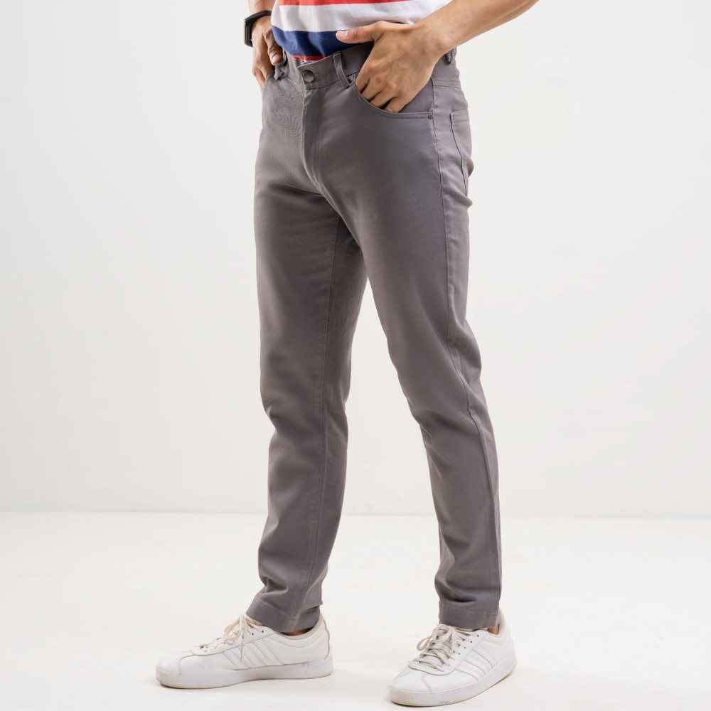 Plain Twill-Coin Grey, 5 Pocket Chino Stretch Trouser