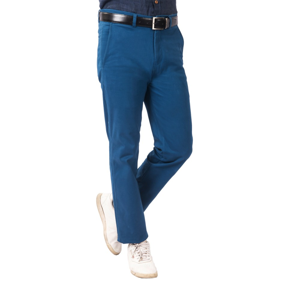 Trouser - Lycra Cotton Blue Plain - Slim