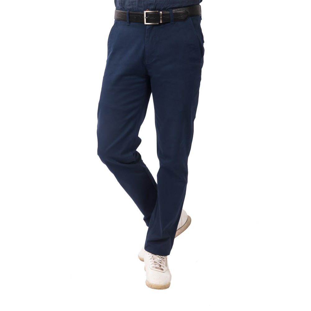 Trouser - Lycra Cotton Dark Blue Plain - Slim