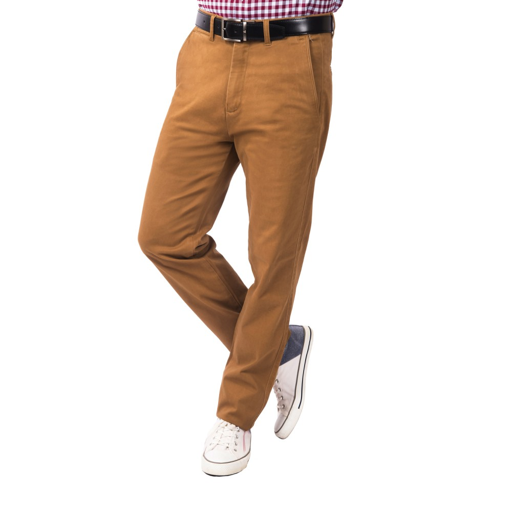 Trouser - Lycra Cotton Brown Plain - Slim
