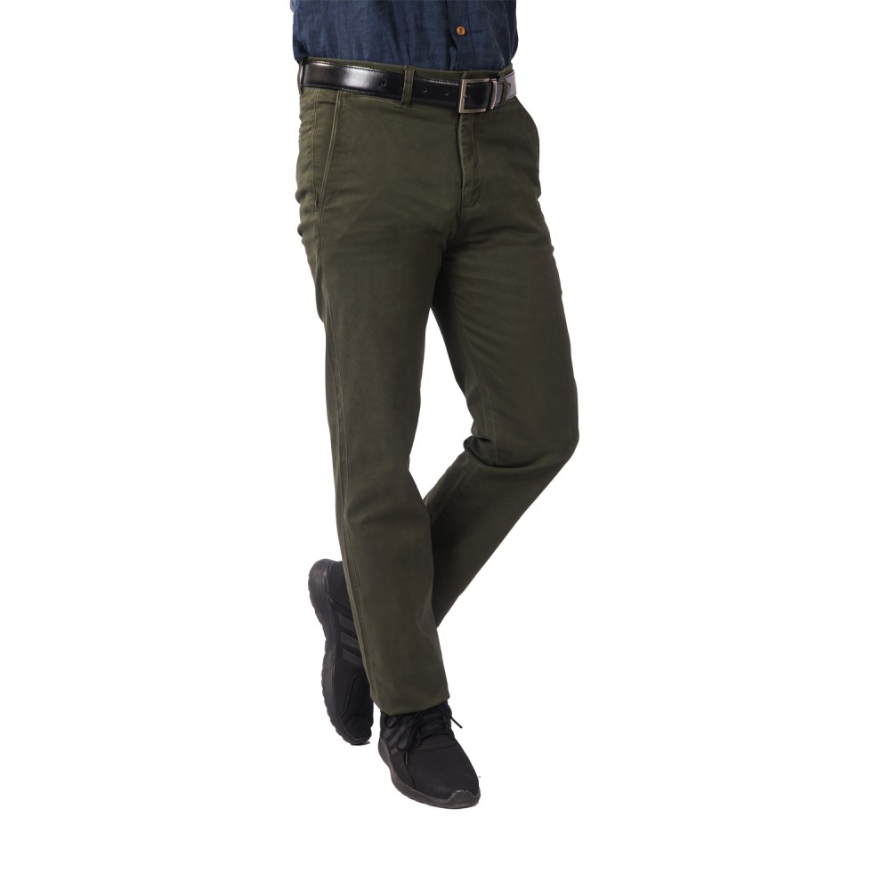 Trouser - Lycra Cotton Green Plain - Slim