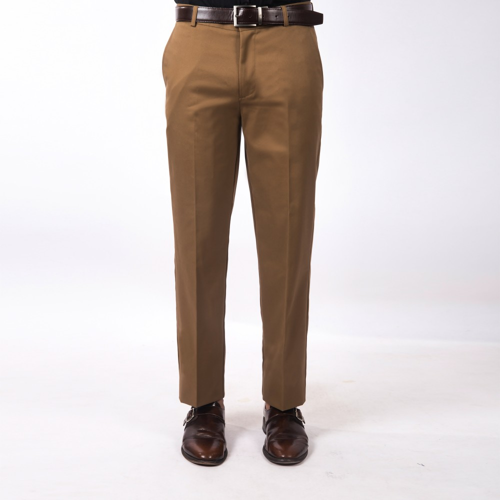Trouser - 100% Cotton Easy Iron Brown Plain - Slim