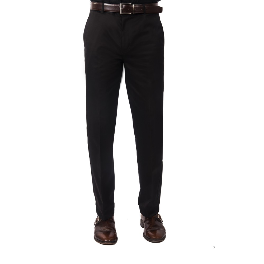 Trouser - 100% Cotton Wrinkle Free Black Plain - Regular