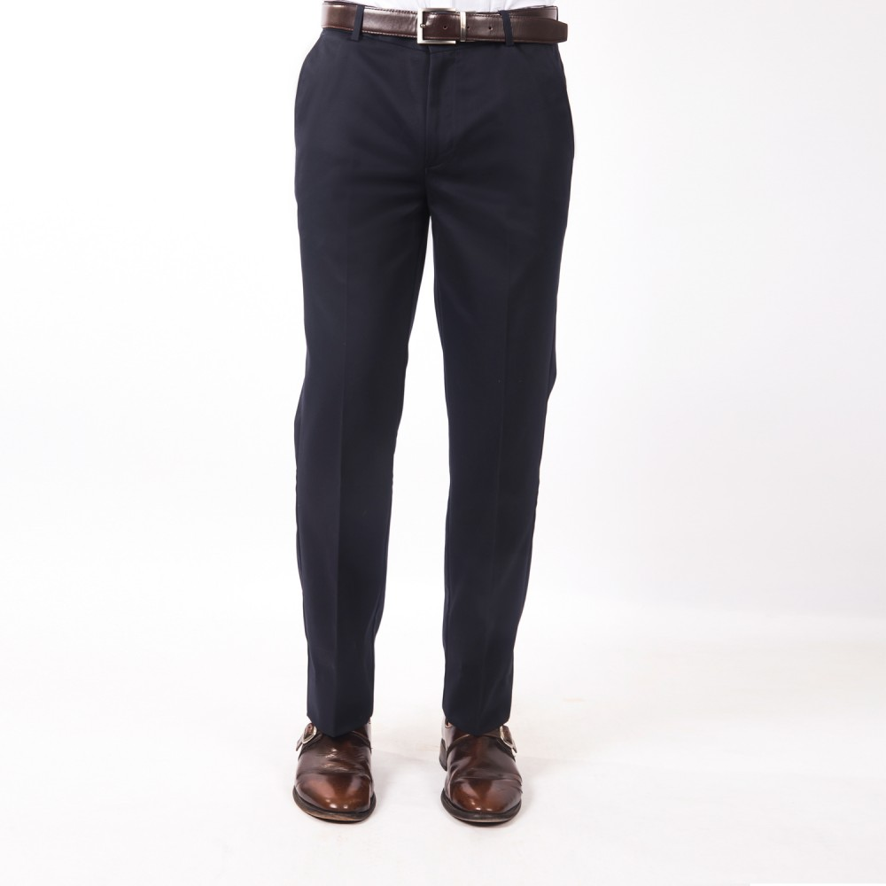 Trouser - 100% Cotton Wrinkle Free Blue Plain