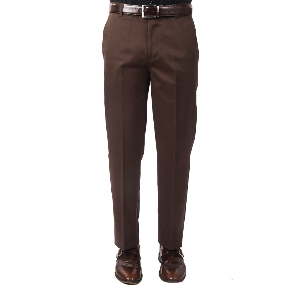 Trouser - 100% Cotton Wrinkle Free Brown Plain - Regular