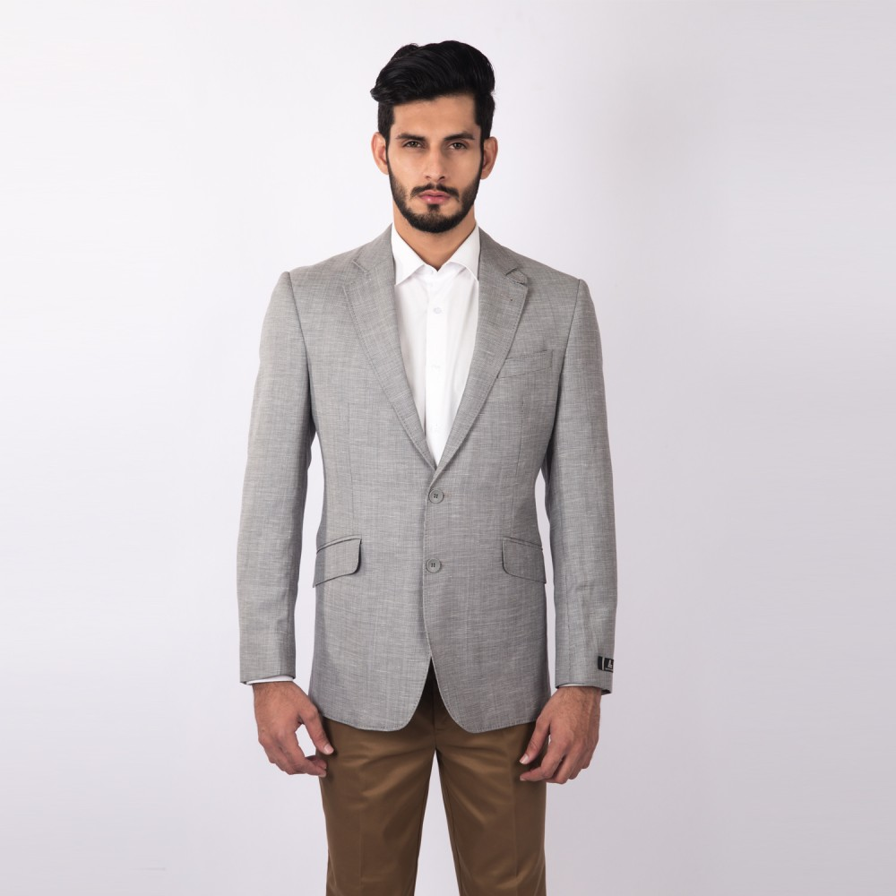 Jacket Linwool Light Grey Plain - Regular