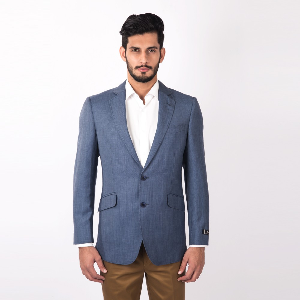 Jacket Linwool Bluish Grey Plain - Regular