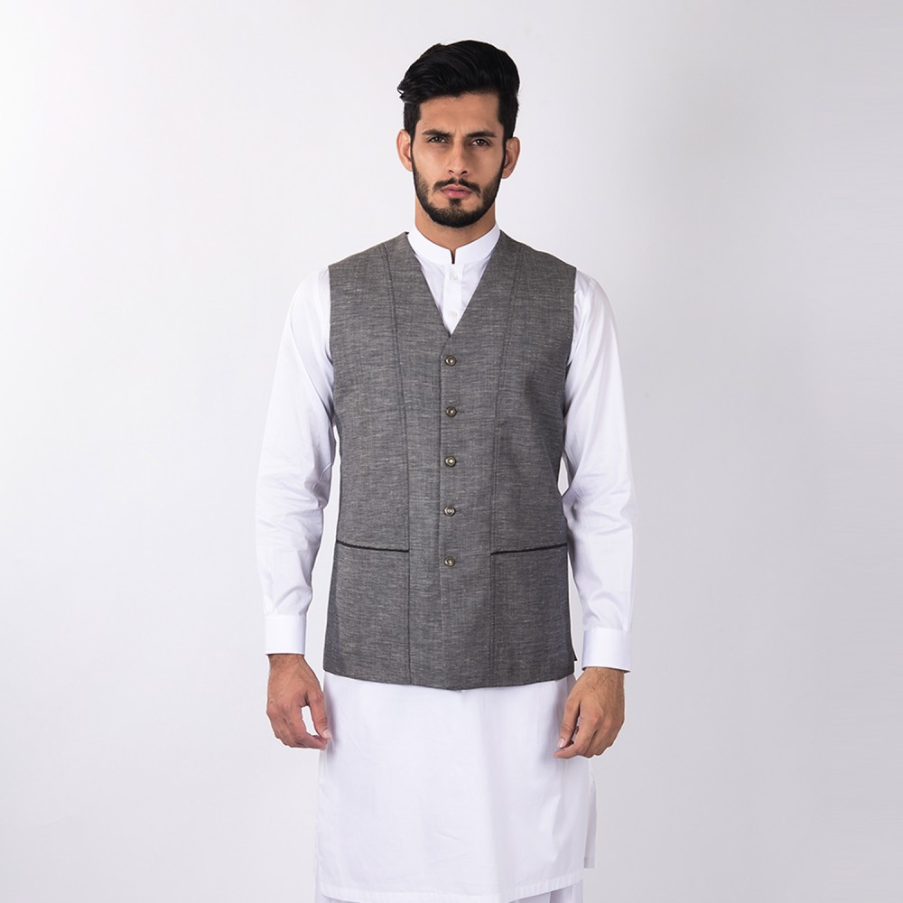 Vest - Linwool Grey Plain - Regular