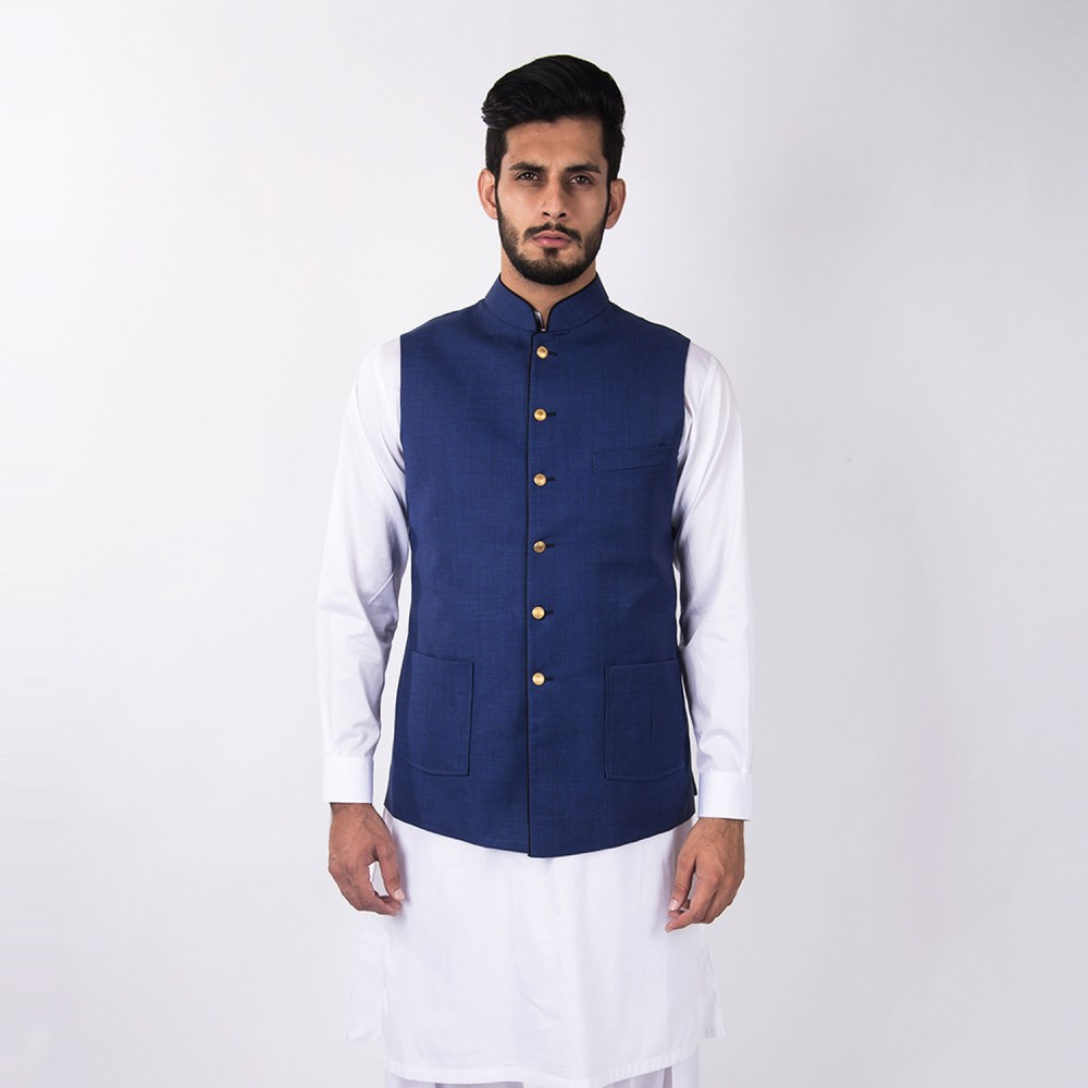 Waist Coat - Linwool Royal Blue Plain - Regular
