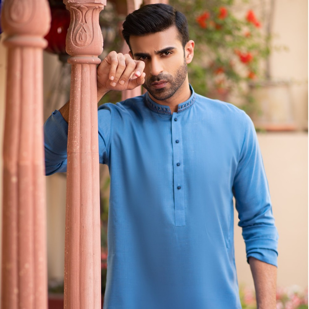 Plain-Marlin Blue, Yarn Dyed Chambray Cotton Embroidered Kurta