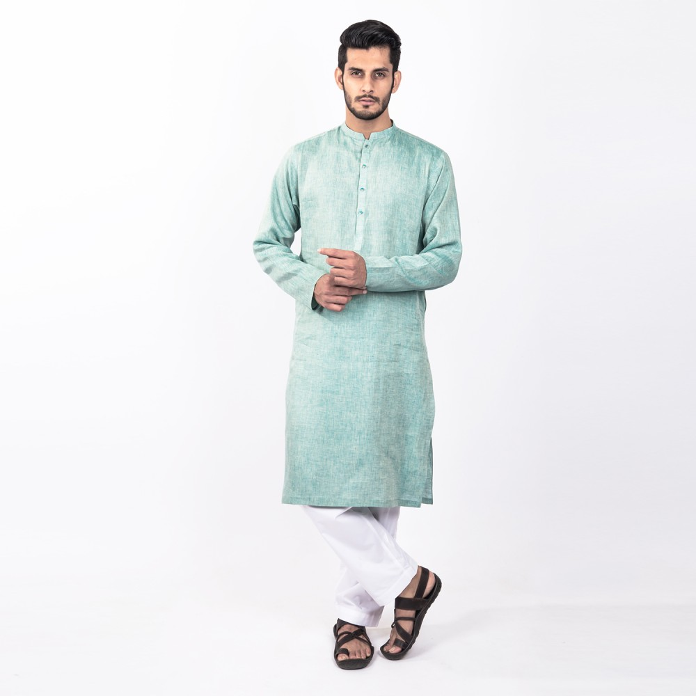 Kurta - Pure Linen Blue Plain