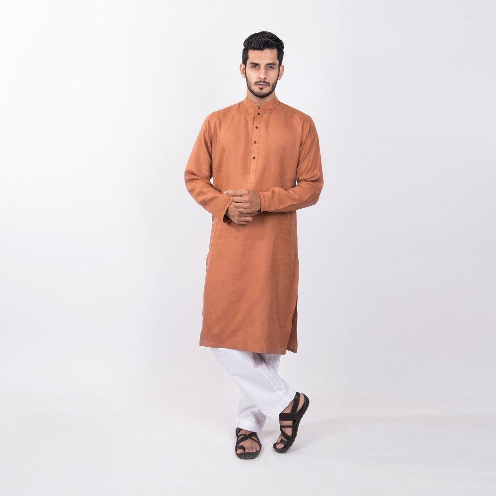 Kurta - Pure Linen Brown Textured