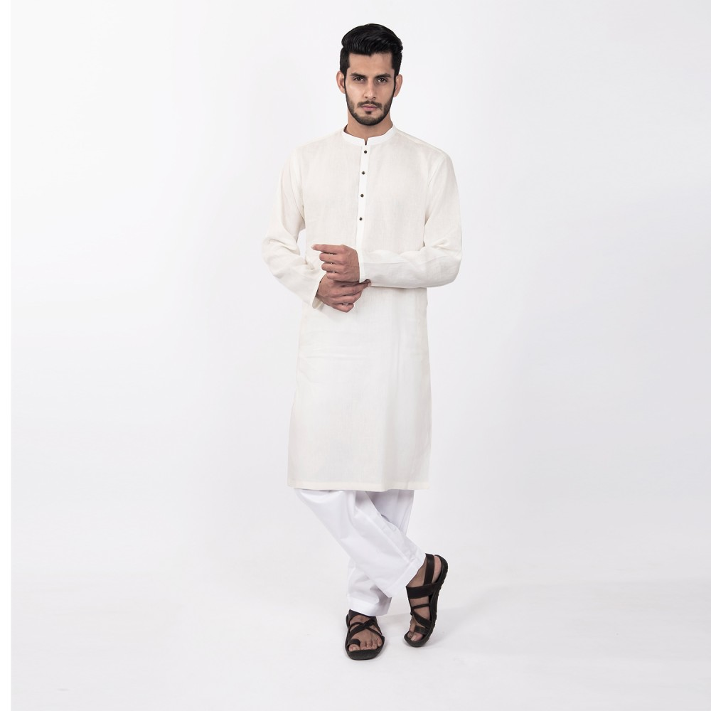 Kurta - Pure Linen White Plain