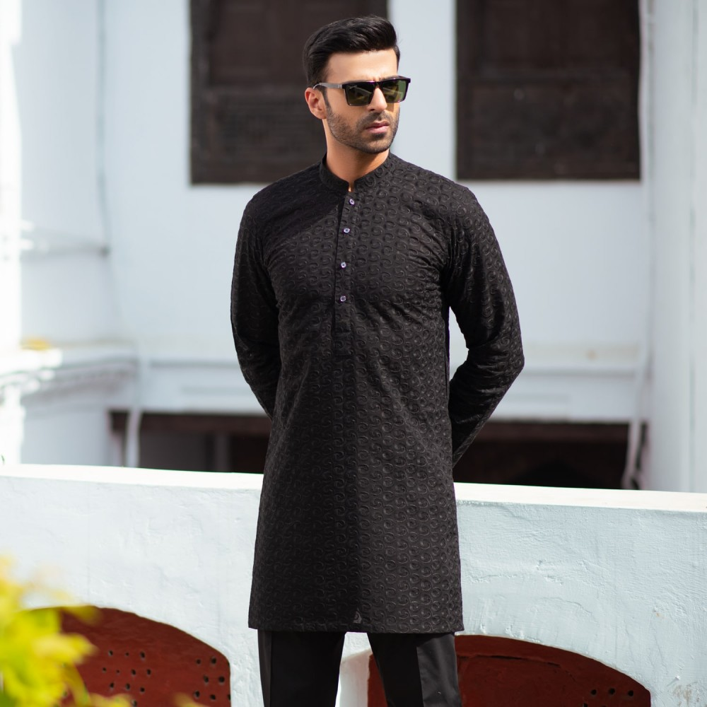 Black-Self Embroidered, 100% Cotton Short Kurta