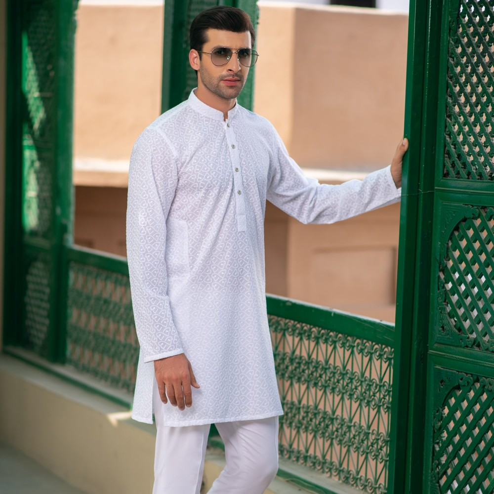 White-Self Embroidered, 100% Cotton Short Kurta