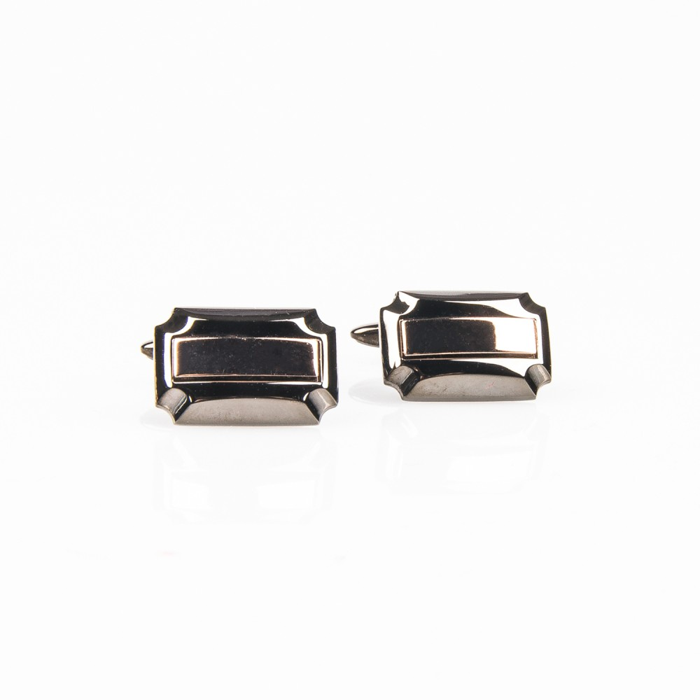 Cufflink - Gun Metal Rectangle