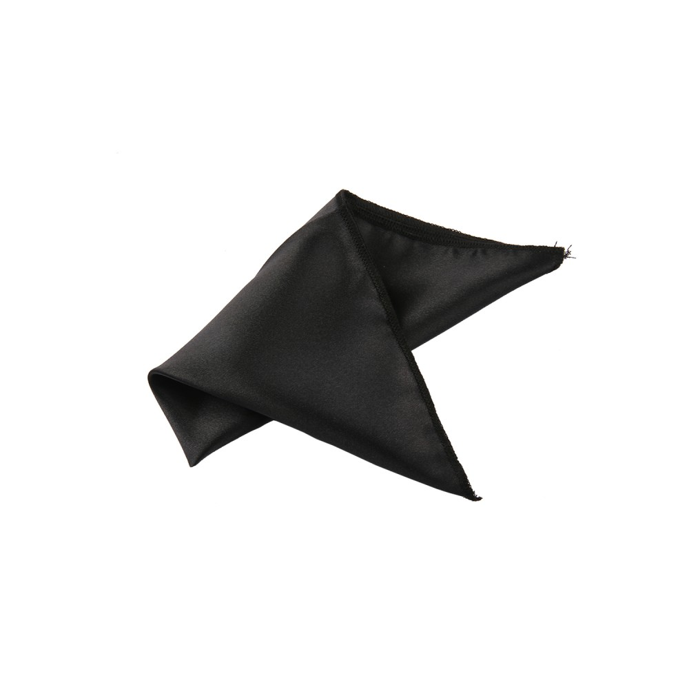 Pocket Square - Satin Black Plain