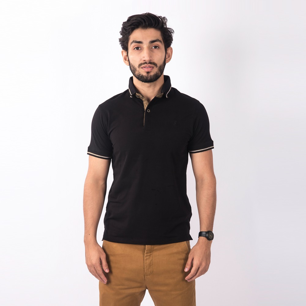 Polo-Shirt - Cotton Lycra Black Plain - Slim