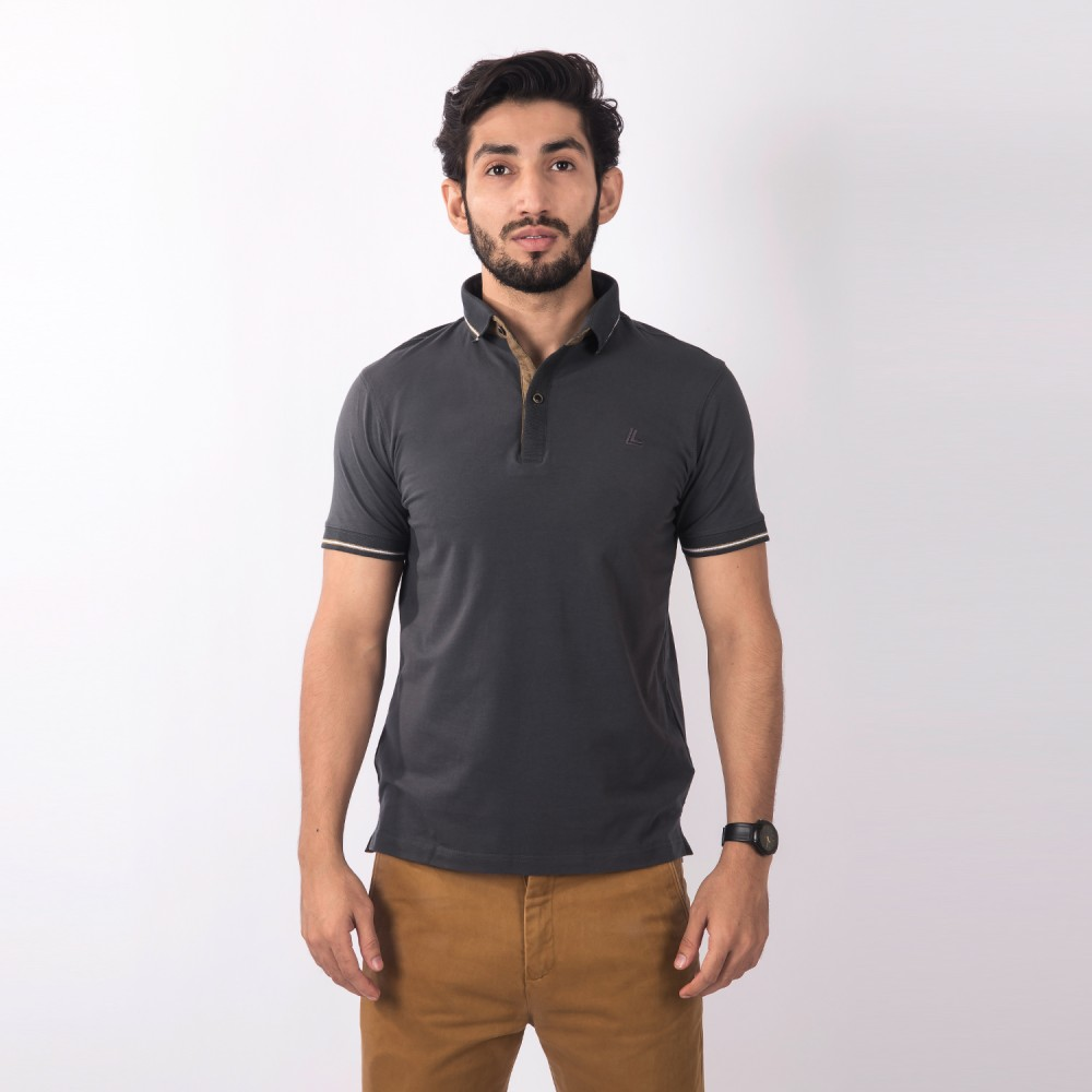 Polo-Shirt - Cotton Lycra Grey Plain - Slim