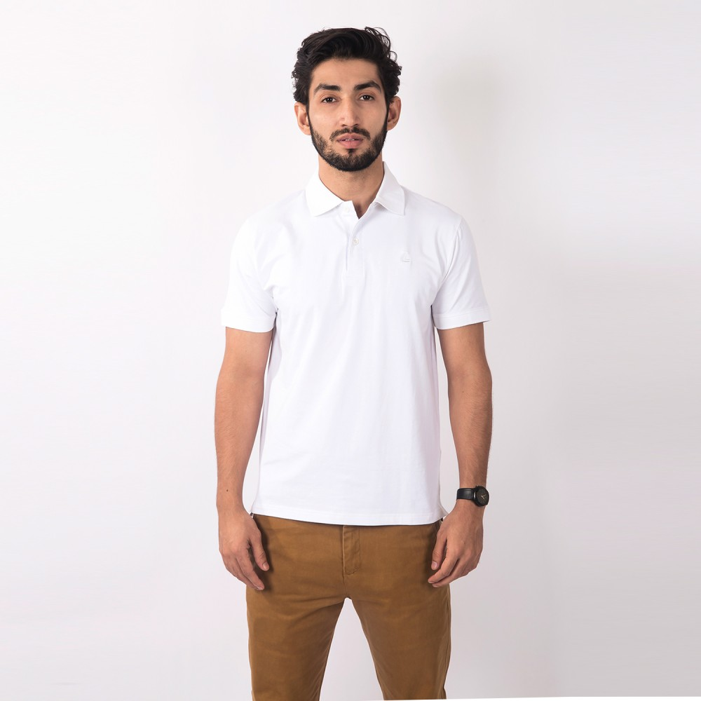 Polo-Shirt - Cotton Lycra White Plain - Slim
