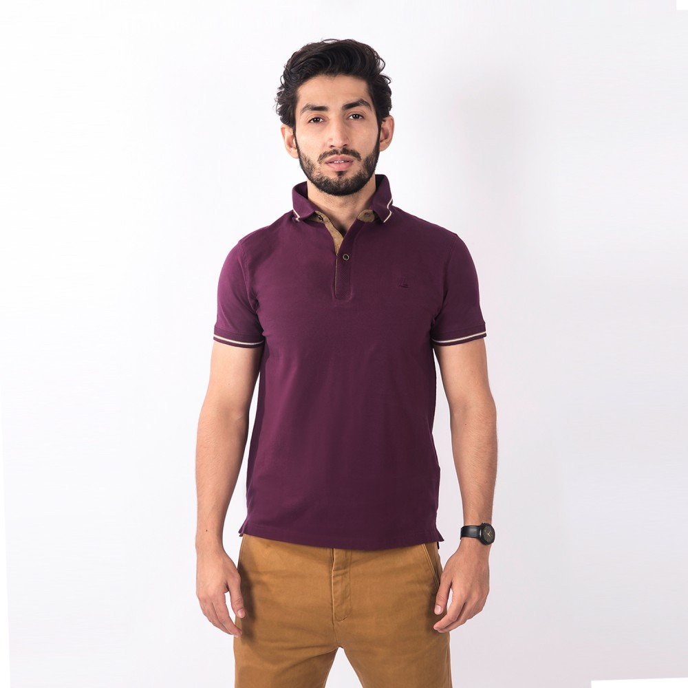 Polo-Shirt - Cotton Lycra Maroon Plain - Slim