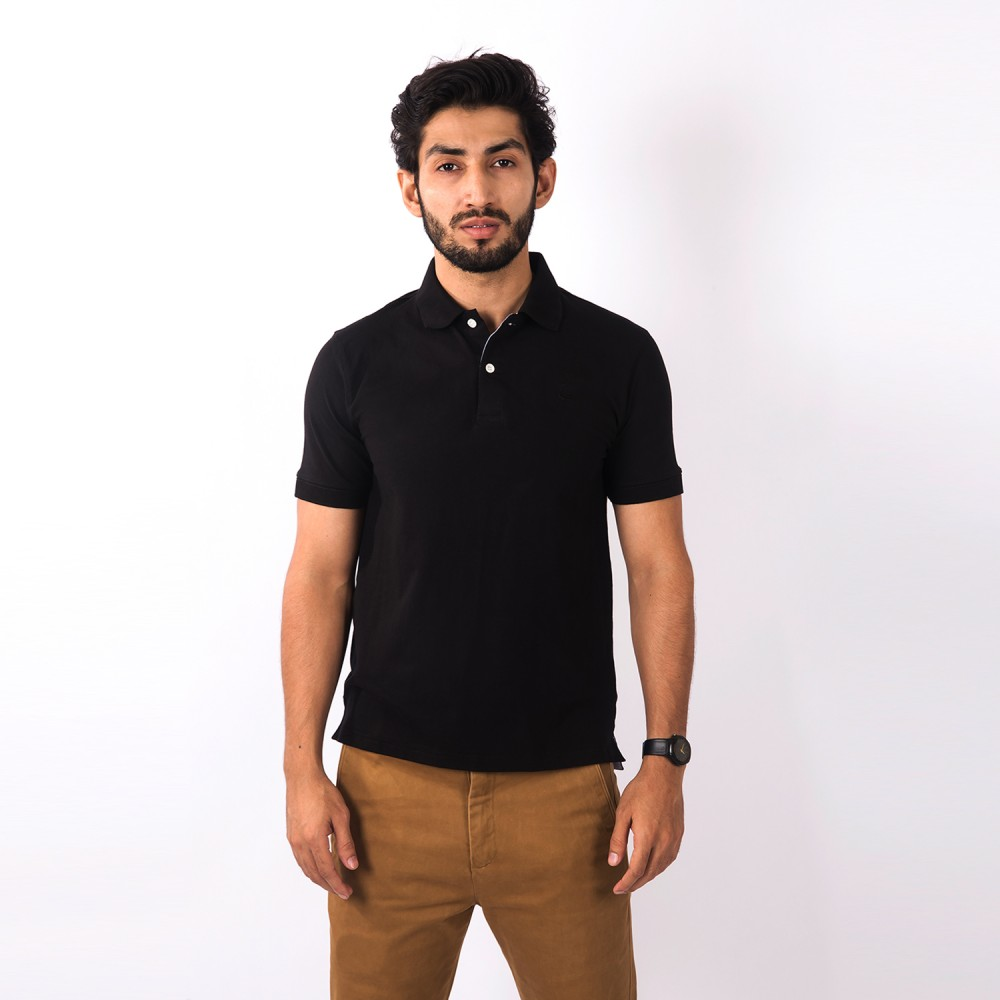 Polo-Shirt - Lycra Cotton Black Plain - Regular