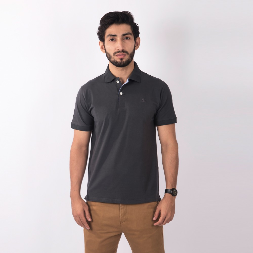 Polo-Shirt - Lycra Cotton Grey Plain - Regular