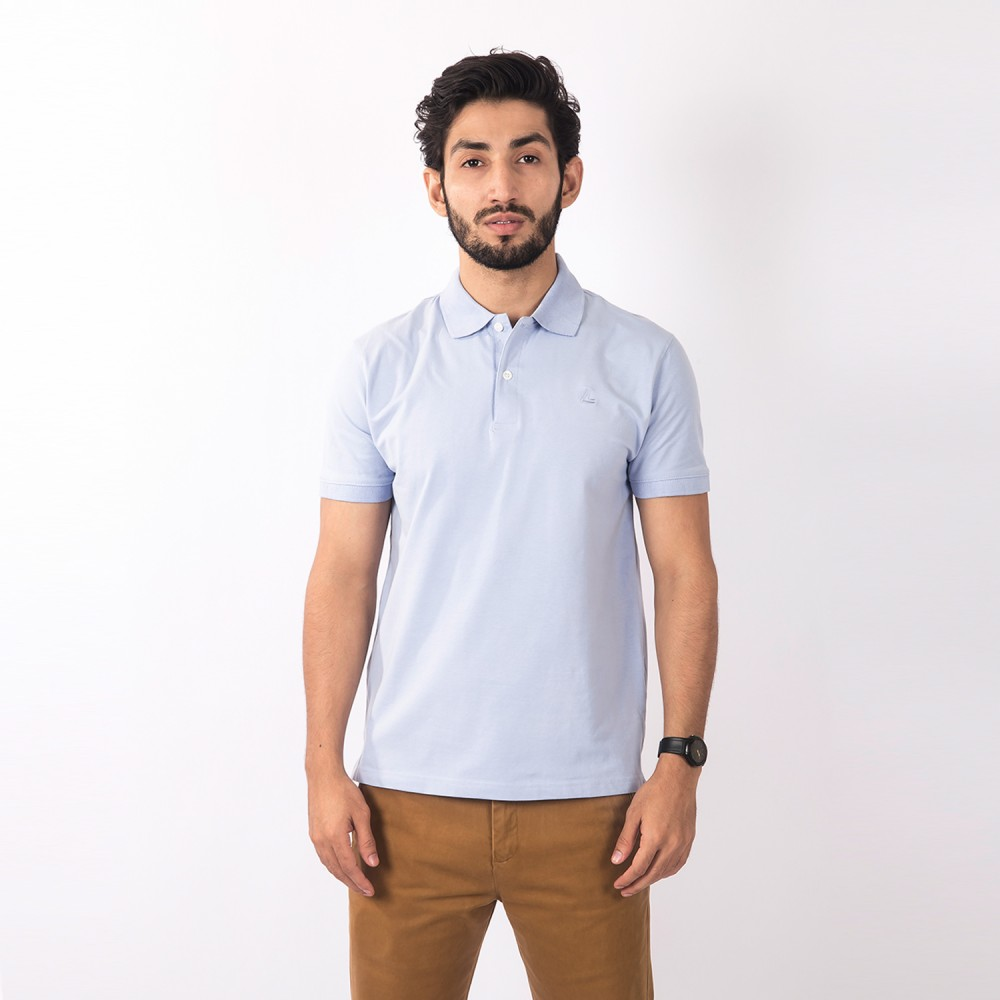 Polo-Shirt - Lycra Cotton Blue Plain - Regular