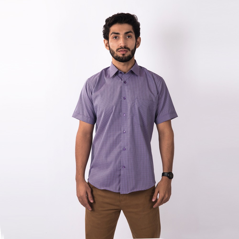 Half Sleeves Shirt Charlie Purple Checks - Regular