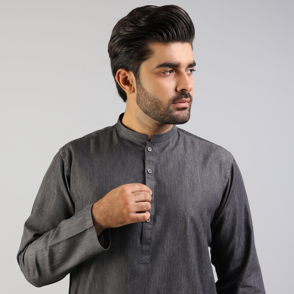 Black Denim Kurta