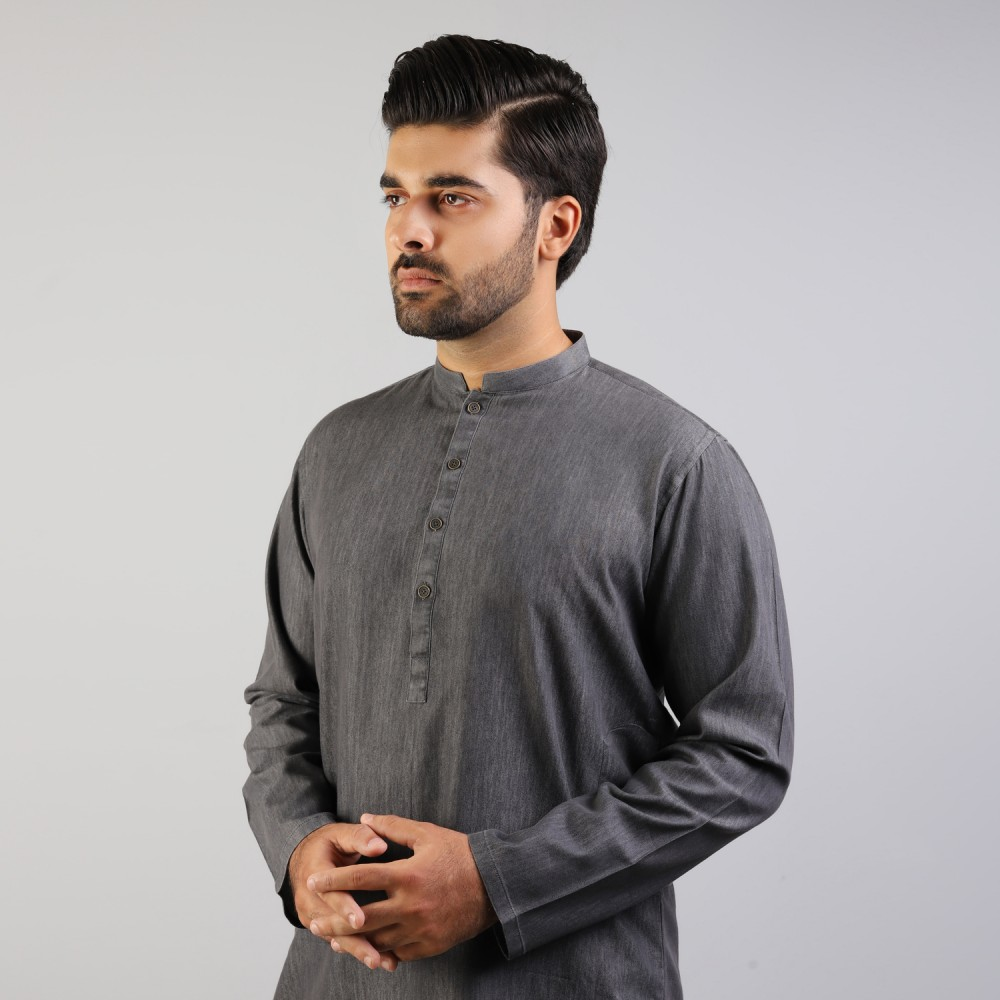 Grey Denim Kurta