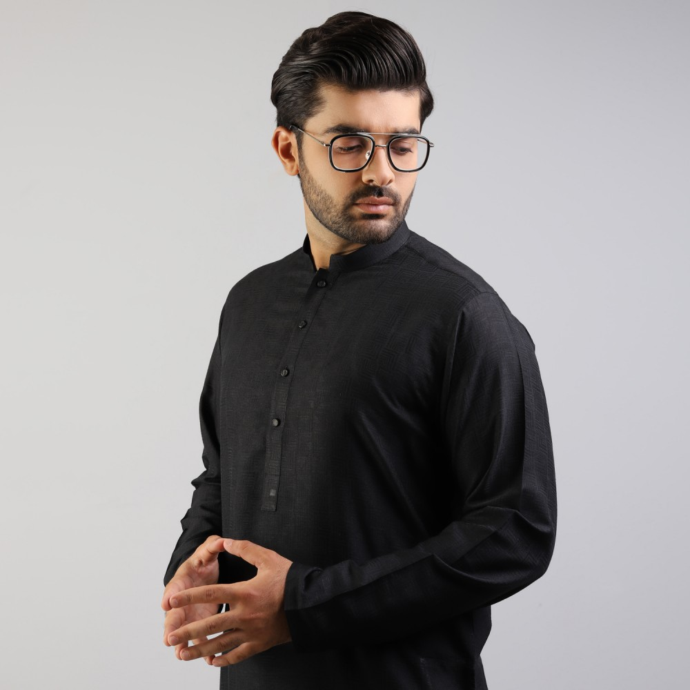 Black Geometric Self Pattern Jamawar Kurta