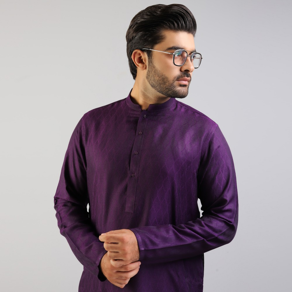 Purple Leafy Self Pattern Jamawar Kurta
