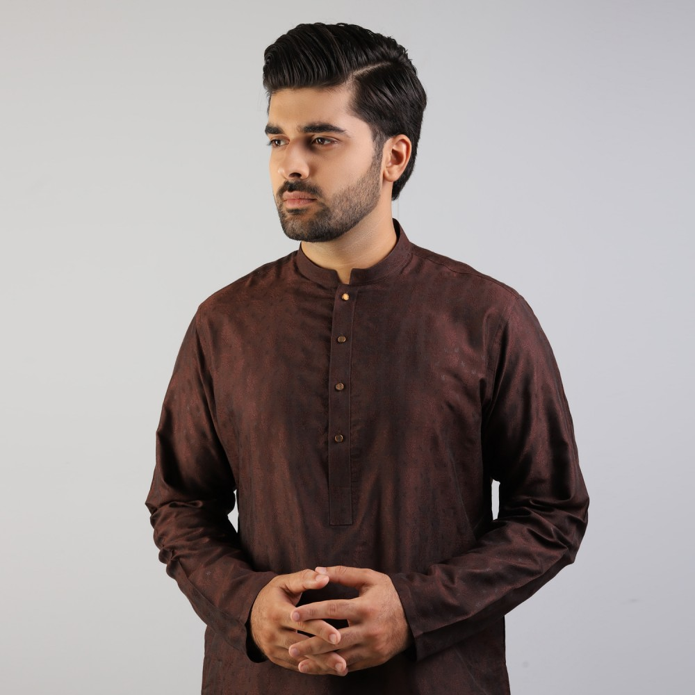 Brown Big Floral Self Pattern Jamawar Kurta