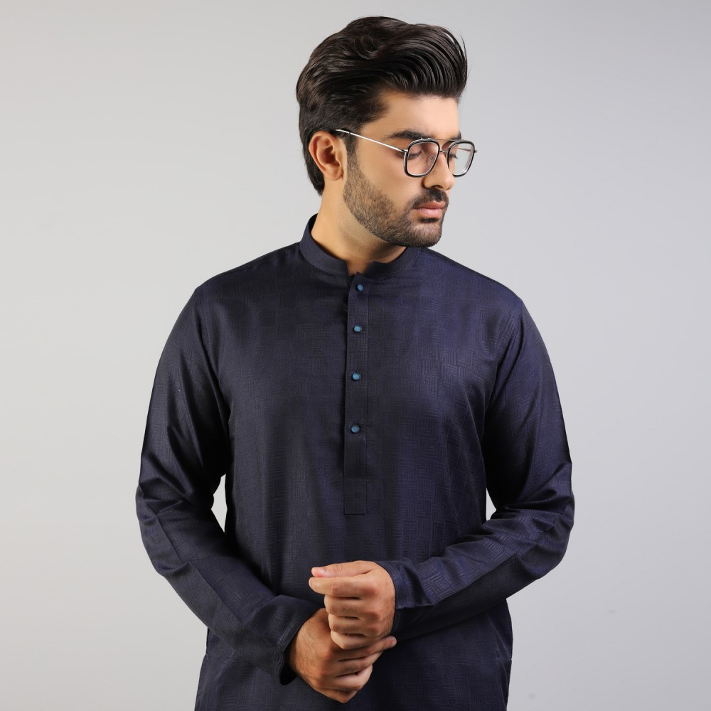 Navy Blue Geometric Self Pattern Jamawar Kurta