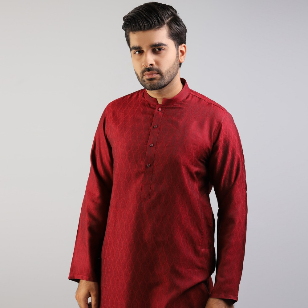 Burgundy Red Leafy Self Pattern Jamawar Kurta